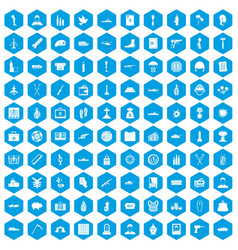 100 war crimes icons set blue vector
