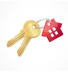 House keys with red key chain vector
