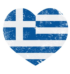 Greece heart love retro flag vector