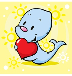 Cute seal holding heart - cartoon vector