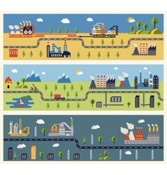 Industrial factories banners vector