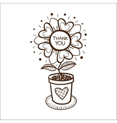 Flower in a pot with thank you text vector