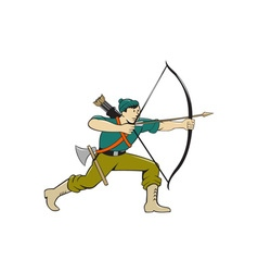 Archer aiming long bow arrow cartoon vector