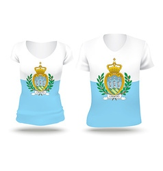 Flag shirt design of san marino vector