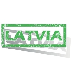 Green outlined latvia stamp vector