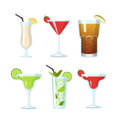Tropical cocktails in a glasses set vector