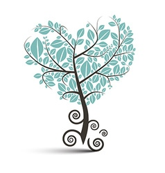 Heart shaped tree with curled roots isolated vector