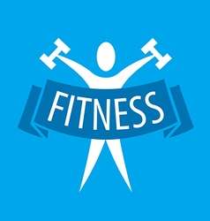 Abstract logo for fitness clubs on a blue vector