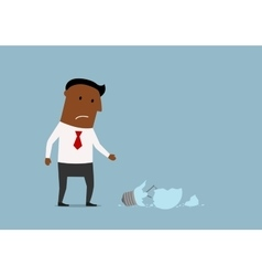 Unhappy businessman with broken idea vector