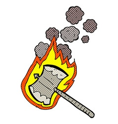 Comic cartoon flaming axe vector
