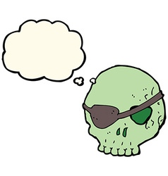 Cartoon skull with eye patch with thought bubble vector