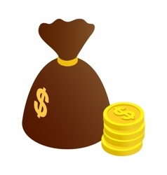 Bag of coins isometric 3d icon vector