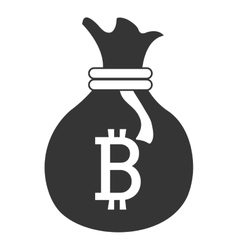 Black money bag with bitcoin signal vector