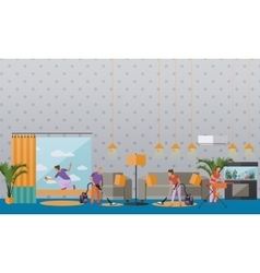 Cleaning service concept banner apartment vector