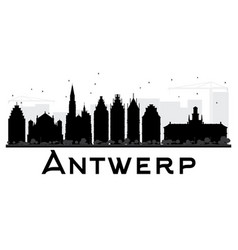 Antwerp city skyline black and white silhouette vector