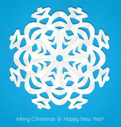 Applique snowflake Christmas card on grunge vector image