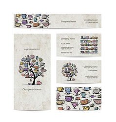 art tree with mugs and cups business cards design vector image vector image