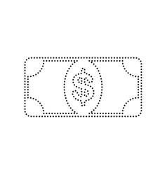 Bank note dollar sign black dotted icon vector