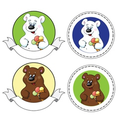 bear and ice cream banner vector image