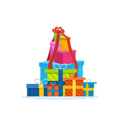 Big mountain of bright colorful wrapped gift boxe vector