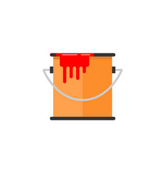 bucket of paint flat icon build repair elements vector image vector image