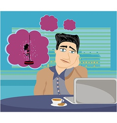 businessman dreaming of a pole dancing vector image