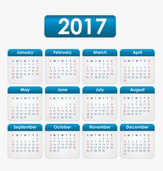 Calendar 2017 blue vector