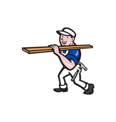 Carpenter worker carrying timber cartoon vector