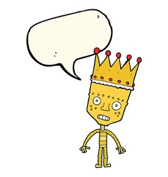Cartoon robot with crown with speech bubble vector
