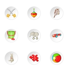 Child play icons set cartoon style vector
