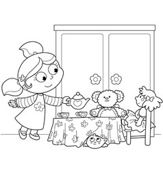 cute young girl serving tea vector image