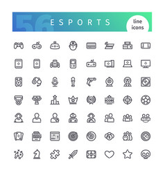 Esports line icons set vector