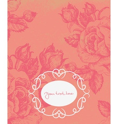 Floral background with vintage frame vector image vector image