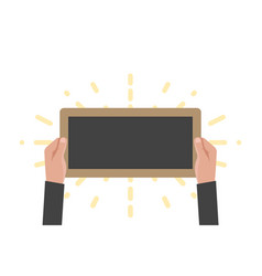 Hand holding sign board chalkboard vector