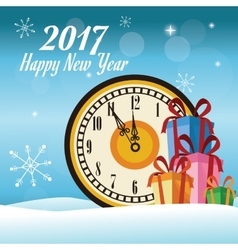 Happy new year 2017 greeting card clock over snow vector