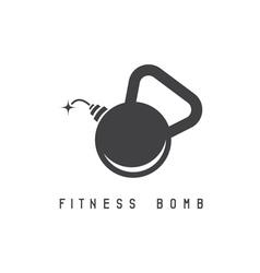 Kettlebell bomb fitness concept design template vector