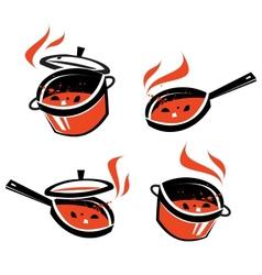 kitchen utensils logo design template vector image vector image