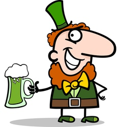 Leprechaun with beer cartoon vector image