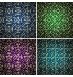 Luxury golden seamless patterns set vector image vector image