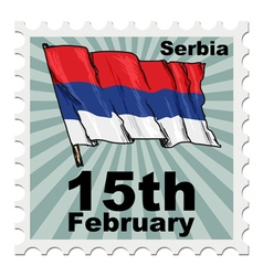 Post stamp of national day of serbia vector