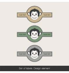 Set label with monkey 2 vector image vector image