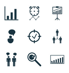 Set of 9 administration icons includes bar chart vector