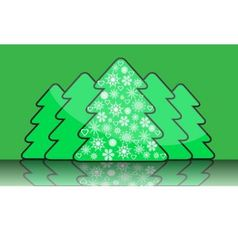Simple christmas tree with decorations of snowflak vector image vector image