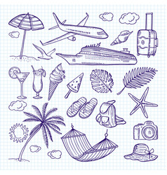 summer hand drawn elements sun umbrella vector image vector image