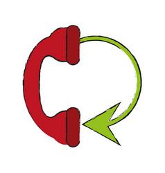Telephone circule draw vector