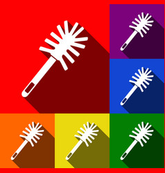 Toilet brush doodle set of icons with vector