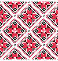 Ukrainian traditional folk knitted red embroidery vector image vector image