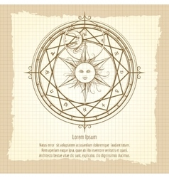 Vintage alchemy magic circle vector image vector image