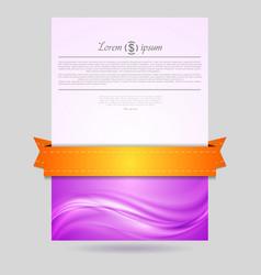 Wavy flyer design with orange ribbon vector