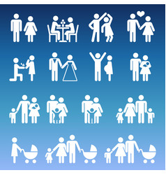 young family life pictograms - white parents and vector image